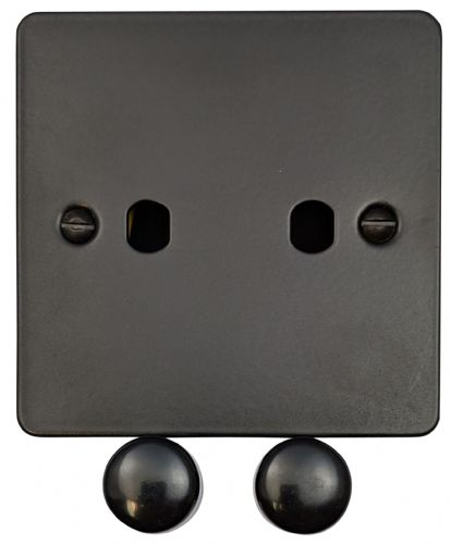 G&H FFB12-PK Flat Plate Matt Black 2 Gang Dimmer Plate Only inc Dimmer Knobs